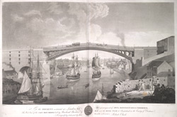 West view of the cast iron bridge built by Rowland Burdon Esq., MP, over the River Wear at Sunderland
